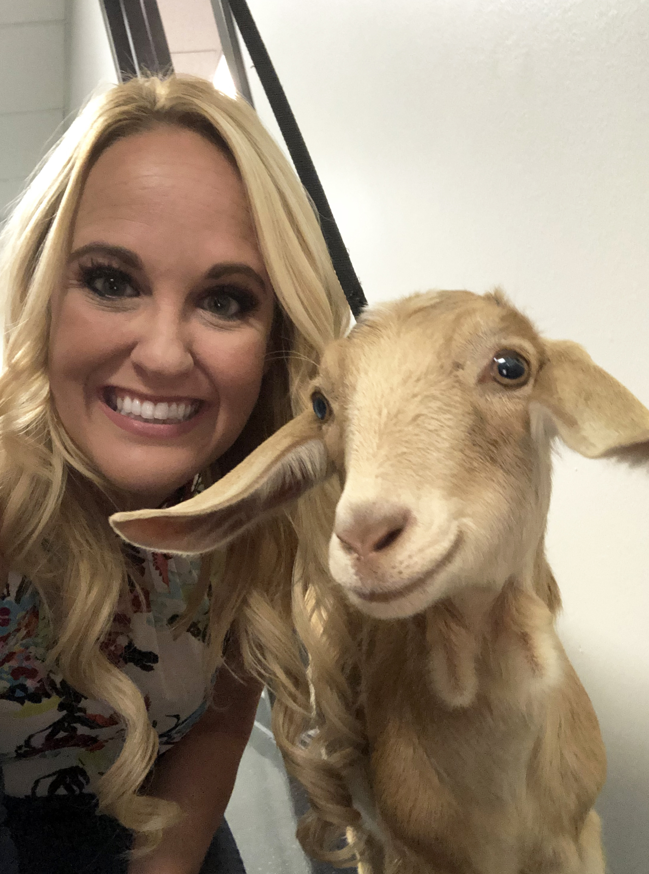 Allie Wagner of KUSI hanging with Millie backstage